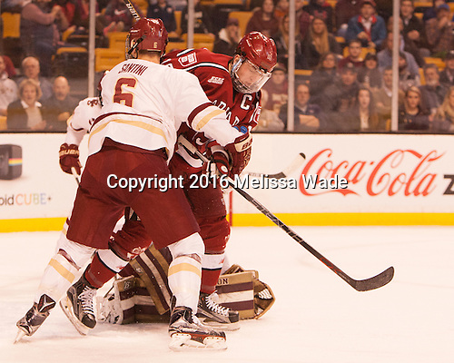 Steve Santini (BC - 6), Jimmy Vesey (Harvard - 19) - The Boston College Eagles defeated the Harvard University Crimson 3-2 in the opening round of the Beanpot on Monday, February 1, 2016, at TD Garden in Boston, Massachusetts.