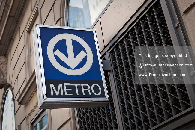 A Montreal metro sign is pictured in downtown Montreal Friday October 26, 2012. The Montreal Metro is a rubber-tired metro system and incorporates 68 stations on four lines measuring 65.33 km (40.59 mi) in length.