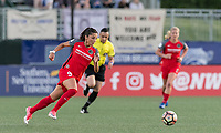 Allston, Massachusetts - May 19, 2017:  In a National Women's Soccer League (NWSL) match, Boston Breakers (blue) tied Portland Thorns FC (red), 2-2, at Jordan Field.