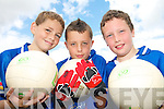 CHAMPIONS:  Young footballers  from Farranfore and Firies  enjoying the Kerry VGAA VHI Cul  Camp in Farranfore on Friday last..L/r. James Flynn, Eamon Fleming and Seamus Barry.   Copyright Kerry's Eye 2008