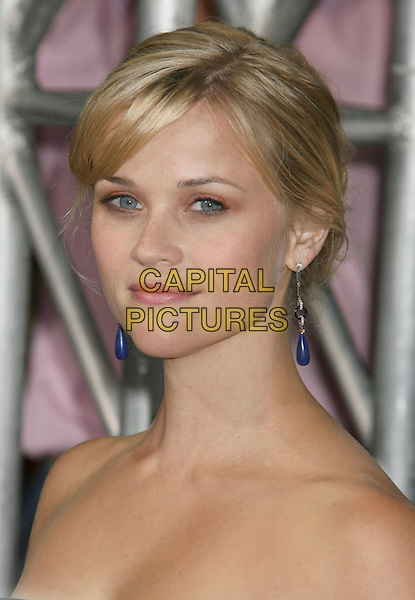 """REESE WITHERSPOON.""""Rendition"""" Los Angeles Premiere held at the Academy of Motion Pictures Arts and Sciences Theatre, Beverly Hills, California, USA..October 10th, 2007.headshot portrait strapless dangling blue earrings.CAP/ADM/RE.©Russ Elliot/AdMedia/Capital Pictures."""