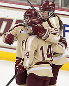 Dana Trivigno (BC - 8), Emily Pfalzer (BC - 14), Taylor Wasylk (BC - 9) - The Boston College Eagles defeated the visiting University of Maine Black Bears 10-0 on Saturday, December 1, 2012, at Kelley Rink in Conte Forum in Chestnut Hill, Massachusetts.