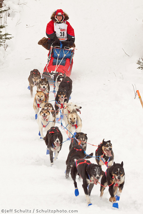 Musher # 38 Bob Hickel at the Restart of the 2009 Iditarod in Willow Alaska.