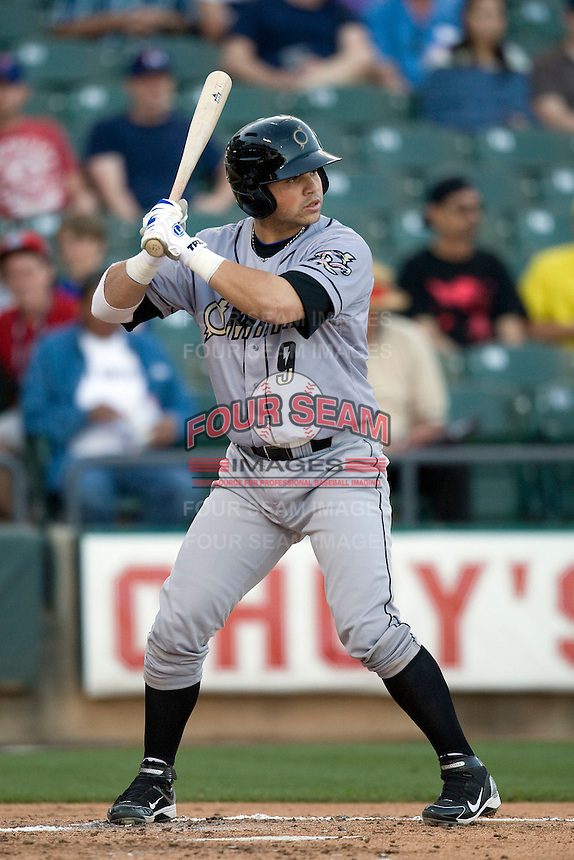 Omaha Storm Chaser catcher Manny Pina at bat against the Round Rock Express in Pacific Coast League baseball on Monday April 11th, 2011 at Dell Diamond in Round Rock Texas.  (Photo by Andrew Woolley / Four Seam Images)