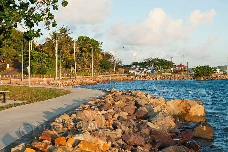 View along the Victoria Parade foreshore at sunset.  Thursday Island, Torres Strait Islands, Queensland, Australia
