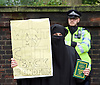 Far right activists protesting outside Regent's Park Mosque in Central London, Great Britain <br /> 3rd April 2015 <br /> <br /> <br /> Members of the English Defence League <br /> <br /> <br /> <br /> Police and Muslims who have been praying at the Mosque. <br /> <br /> Photograph by Elliott Franks <br /> Image licensed to Elliott Franks Photography Services