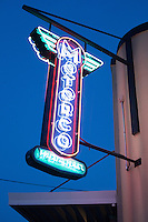 DURHAM, N.C. Monday August 4, 2014 - The neon sign glows at twilight at the Motorco Garage Bar in Durham, N.C. (Justin Cook for The New York Times)