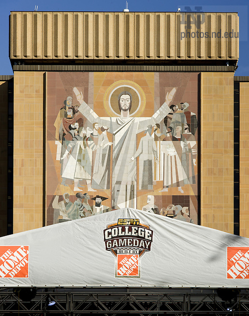 Oct. 12, 2012; The ESPN College Gameday set in front of the Hesburgh Library Word of Life Mural, known as Touchdown Jesus...Photo by Matt Cashore/University of Notre Dame