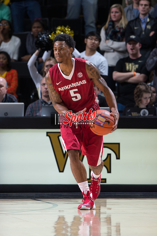 Anthlon Bell (5) of the Arkansas Razorbacks on offense during second half action against the Wake Forest Demon Deacons at the LJVM Coliseum on December 4, 2015 in Winston-Salem, North Carolina.  The Demon Deacons defeated the Razorbacks 88-85.  (Brian Westerholt/Sports On Film)