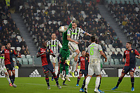 30th October 2019; Allianz Stadium, Turin, Italy; Serie A Football, Juventus versus Genoa; Leonardo Bonucci of Juventus scores the goal for 1-0 in the 37th minute - Editorial Use