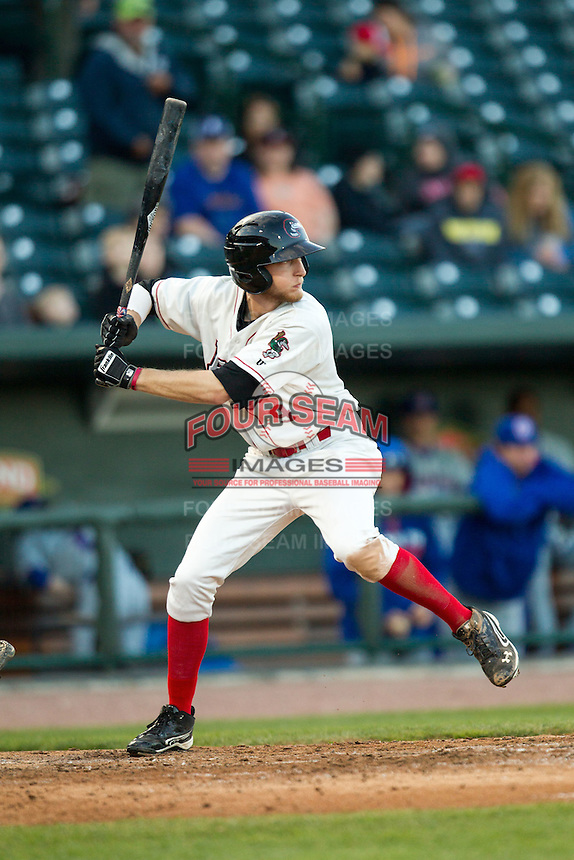 Great Lakes Loons outfielder Logan Landon (9) at bat against the South Bend Cubs on May 18, 2016 at Dow Diamond in Midland, Michigan. Great Lakes defeated South Bend 5-4. (Andrew Woolley/Four Seam Images)