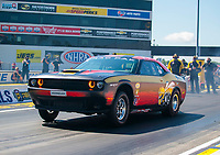 Jul 18, 2020; Clermont, Indiana, USA; NHRA factory stock driver Leah Pruett during qualifying for the Summernationals at Lucas Oil Raceway. Mandatory Credit: Mark J. Rebilas-USA TODAY Sports