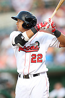 Great Lakes Loons Angelo Songco during the Midwest League All Star Game at Parkview Field in Fort Wayne, IN. June 22, 2010. Photo By Chris Proctor/Four Seam Images