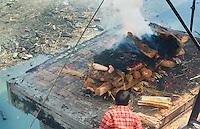 Kathmandu Nepal. a public cremation  Pashupatinath, Buddhist, Buddhism death, dead, burn, cremate