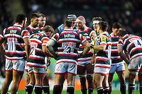 Leicester Tigers players huddle together during a break in play. Aviva Premiership match, between Leicester Tigers and Harlequins on November 20, 2016 at Welford Road in Leicester, England. Photo by: Patrick Khachfe / JMP