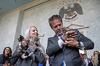 Hannah Shaw, known as the Kitten Lady, and Representative Mike Bishop, Republican of Michigan, hold kittens in the Rayburn House Office Building on Capitol Hill in Washington, DC during an event in support of the 'Kitten Act' which aims to stop testing by the United States Department of Agriculture on Kittens in Washington, DC on June 7, 2018. <br /> CAP/MPI/RS<br /> &copy;RS/MPI/Capital Pictures