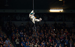 Royal Marines Commandos abseiling from the stands