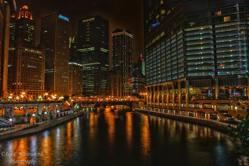 Looking along the Chicago River at night.