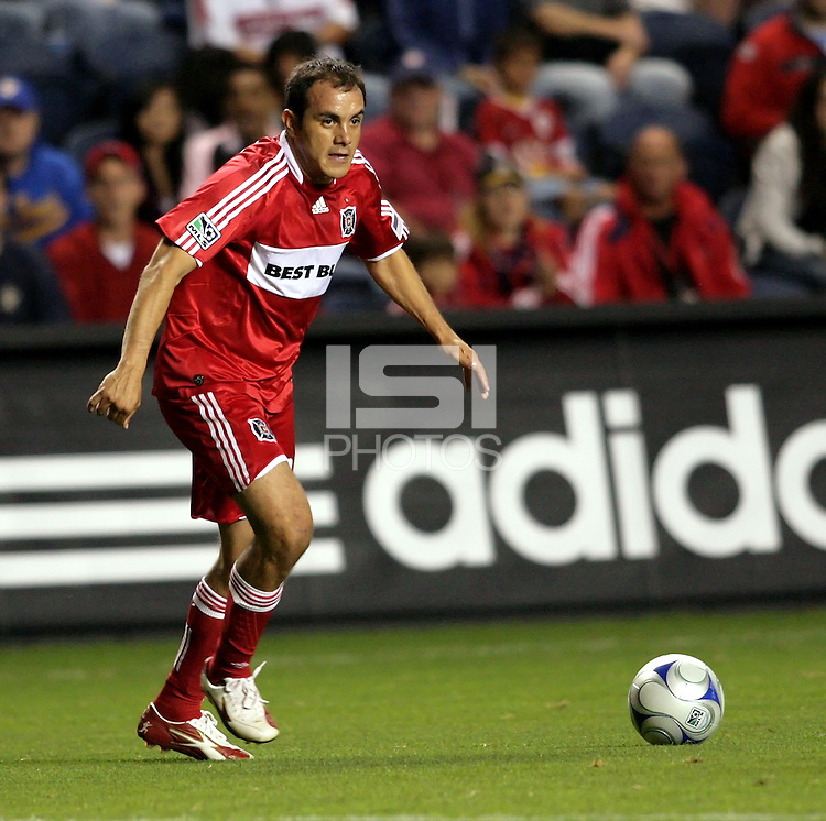 Chicago midfielder Cuauhtemoc Blanco (10) prepares to cross the ball.  The Chicago Fire defeated the San Jose Earthquakes 2-0 at Toyota Park in Bridgeview, IL on July 18, 2009.
