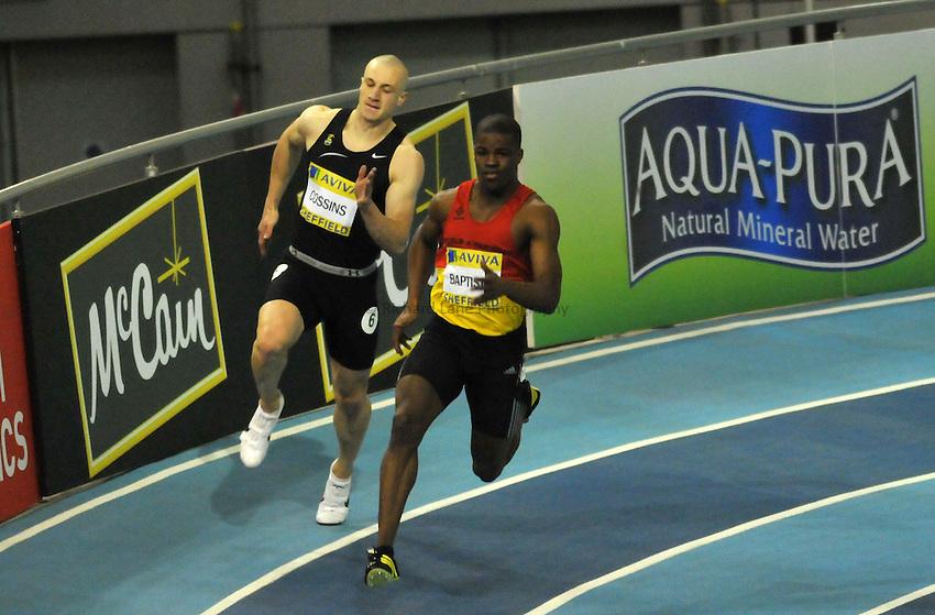 Photo: Tony Oudot/Richard Lane Photography..Aviva European Trials & UK Championships athletics. 15/02/2009. .Leon Baptiste wins the mens 200m