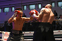 Alan Rattib (grey shorts) defeats Dylan Draper during a Boxing Show at York Hall on 8th June 2019
