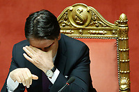 Giuseppe Conte<br /> Rome March 20th 2019. Senate vote on the immunity from prosecution for the Minister of Internal Affairs Matteo Salvini.  Last August 20th a ship, carrying 177 migrants (among them many minors) docked in the harbour of Catania but Minister Salvini took the decision to block migrants of Diciotti ship at sea. For that reason the magistracy accused the minister of kidnapping.<br /> Foto Samantha Zucchi Insidefoto