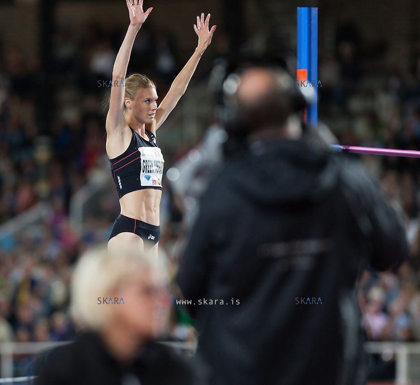 Emma GREEN TREGARO (SWE) waves the audiences at the IAAF Diamond League meeting in Stockholm after failing for the third time to get over 1.94m. She came in 6th place. She was wearing her multi coloured nail polish like she did in Moskva.