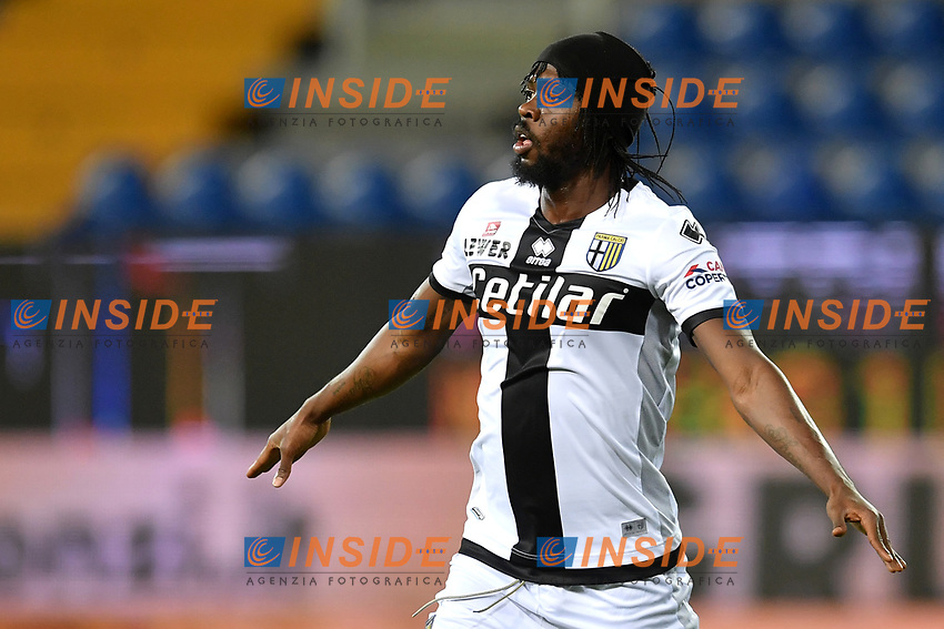 Gervinho of Parma celebrates after scoring the goal of 1-0 during the Serie A football match between Parma and FC Internazionale at stadio Ennio Tardini in Parma ( Italy ), June 28th, 2020. Play resumes behind closed doors following the outbreak of the coronavirus disease. <br /> Photo Andrea Staccioli / Insidefoto