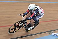 CALI – COLOMBIA – 28-02-2014: Sarah Hammer de Estados Unidos durante la prueba de Persecucion Individual Damas en el Velodromo Alcides Nieto Patiño, sede del Campeonato Mundial UCI de Ciclismo Pista 2014. / Sarah Hammer of USA during the test of the Women´s Individual Persuit at the Alcides Nieto Patiño Velodrome, home of the 2014 UCI Track Cycling World Championships. Photos: VizzorImage / Luis Ramirez / Staff.