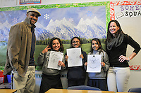 The Harker School - LS - Lower School - LS student winners of their Snowman Gram Drawing with their respective teachers, Mr. Wade, Mrs. Molin, and Mr. Ramsey - Photo by Kyle Cavallaro