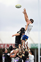 Charlie Ewels of Bath Rugby rises high to win lineout ball. Aviva Premiership match, between Exeter Chiefs and Bath Rugby on December 2, 2017 at Sandy Park in Exeter, England. Photo by: Patrick Khachfe / Onside Images