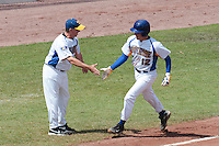 30 july 2010: Rickard Leander of Sweden runs the bases after his 2 runs home run during Sweden 3-2 win over France, in day 6 of the 2010 European Championship Seniors, at TV Cannstatt ballpark, in Stuttgart, Germany.
