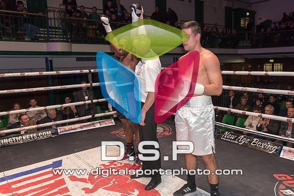 Conroy Downer vs Toni Bilic 4x3 - Cruiserweight Contest During Goodwin Boxing - Violent Engagement. Photo by: Simon Downing.<br /> <br /> Saturday November 25th 2017 - York Hall, Bethnal Green, London, United Kingdom.