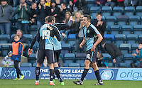 Luke O'Nien (right)  of Wycombe Wanderers celebrates his goal during the Sky Bet League 2 match between Wycombe Wanderers and Stevenage at Adams Park, High Wycombe, England on 12 March 2016. Photo by Andy Rowland/PRiME Media Images.