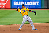 Biloxi Shuckers shortstop Mauricio Dubon (10) during a Southern League game against the Tennessee Smokies on May 25, 2017 at Smokies Stadium in Kodak, Tennessee.  Tennessee defeated Biloxi 10-4. (Brad Krause/Krause Sports Photography)