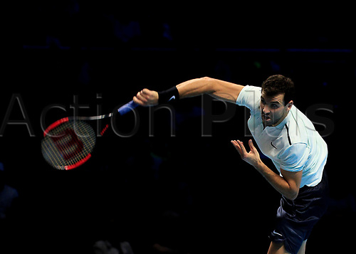 18th November 2017, O2 Arena, London, England; Nitto ATP Tennis Finals; Grigor Dimitrov (BUL) serves to Jack Sock (USA)