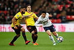 Son Heung-Min of Tottenham tackled by Christian Kabasele of Watford during the premier league match at Wembley Stadium, London. Picture date 30th April 2018. Picture credit should read: David Klein/Sportimage