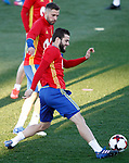 Spain's Jordi Alba (l) and Denis Suarez during training session. March 20,2017.(ALTERPHOTOS/Acero)