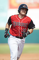 Matt Whatley (19) of the Hickory Crawdads rounds the bases after hitting a home run against the Lakewood BlueClaws at L.P. Frans Stadium on April 28, 2019 in Hickory, North Carolina. The Crawdads defeated the BlueClaws 10-3. (Brian Westerholt/Four Seam Images)