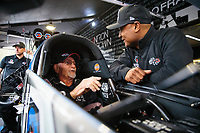 Mar 16, 2019; Gainesville, FL, USA; NHRA top fuel driver Antron Brown (right) talks with Don Garlits during qualifying for the Gatornationals at Gainesville Raceway. Mandatory Credit: Mark J. Rebilas-USA TODAY Sports