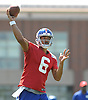 Logan Thomas #6, New York Giants quarterback, throws a pass during practice at Quest Diagnostics Training Center in East Rutherford, NJ on Monday, Aug. 29, 2016.