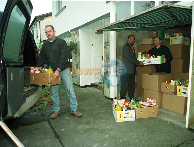 Right  to left Noel McGoldrick chairman , Subi Nogan and Gerry Mulroy Members of the Laytown - Bettystown Round Table Loading Up Hampers for the annual distrubition to local people in need..Pic Newsfile