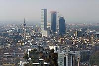 - Milano, veduta dalla terrazza panoramica del palazzo Regione Lombardia, i grattacieli del quartiere CityLife <br /> <br /> - Milan, view from the rooftop terrace of the Lombardy Region building, the skyscrapers of CityLife district