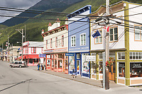 Historic downtown Skagway, Old gold rush town located at the end of the Lynn Canal on the Alaska Panhandle. Favorite tourist destination for cruise ships.