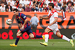 Rayo Vallecano´s Insua (R) and Barcelona´s Leo Messi (L) during La Liga match between Rayo Vallecano and Barcelona at Vallecas stadium in Madrid, Spain. October 04, 2014. (ALTERPHOTOS/Victor Blanco)
