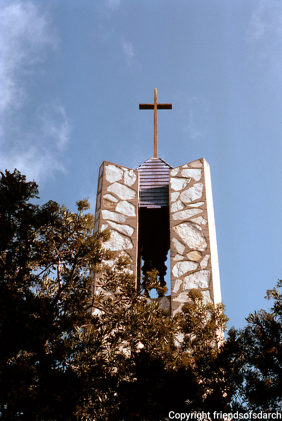 Lloyd Wright: Wayfarer's Chapel, 1946-1971. Bell Tower.  Photo '82.