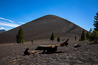 Last erupted in the 1650s, Cinder Cone is one of the four types of volcanoes in Lassen Volcanic National Park. The trail on the right side of the volcano takes you to the top and down inside the volcano.