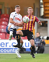 Preston North End's Jordan Storey battles with Bradford City's Eoin Doyle<br /> <br /> Photographer Dave Howarth/CameraSport<br /> <br /> The Carabao Cup First Round - Bradford City v Preston North End - Tuesday 13th August 2019 - Valley Parade - Bradford<br />  <br /> World Copyright © 2019 CameraSport. All rights reserved. 43 Linden Ave. Countesthorpe. Leicester. England. LE8 5PG - Tel: +44 (0) 116 277 4147 - admin@camerasport.com - www.camerasport.com