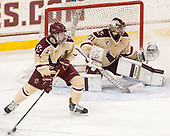 Connor Moore (BC - 7), Joe Woll (BC - 31) - The Boston College Eagles defeated the University of Notre Dame Fighting Irish 6-4 (EN) on Saturday, January 28, 2017, at Kelley Rink in Conte Forum in Chestnut Hill, Massachusetts.The Boston College Eagles defeated the University of Notre Dame Fighting Irish 6-4 (EN) on Saturday, January 28, 2017, at Kelley Rink in Conte Forum in Chestnut Hill, Massachusetts.