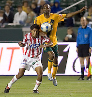 Necaxa Def Frankie Oviedo battles for the ball versus LA Galaxy Fwd Mid Evans Wise during the Necaxa defeat of the LA Galaxy 1-0 in an International friendly match at The Home Depot Center in Carson, California, Wednesday July 12, 2006.